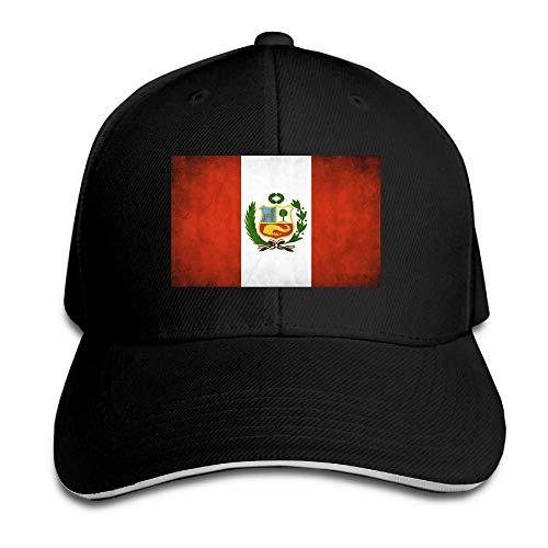 (Vidmkeo Weinlese-Erwachsener Peru Weinlese-Flaggen-Vati-Hut-Hysteresen-Hut-Schwarz-Sandwich-Schirmmütze-Schwarz Design20)