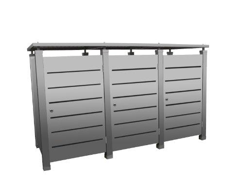 Mülltonnenbox Modell Pacco E Line für drei 120 Liter Tonnen in Edelstahloptik - 2