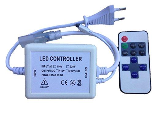 Controlador Dimmer para tiras led 220v 5050 con Mando a distancia Infrarrojos IR (para tiras de 14mm ancho, 10mm entre pines)