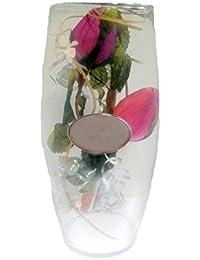 JARRON de cristal con OVALO DE PLATA PRIMERA LEY de Bodas de plata, 25 ANIVERSARIO.