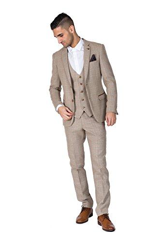 Mens Suits 3 Piece Slim Fit Wedding Classic Tweed Herringbone Check ...