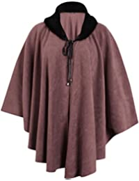 Womens Plus Size Batwing Sleeve Ladies Fleece Faux Fur Collar Tie Neckline Cape Poncho Coat