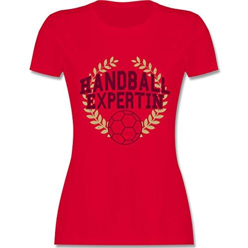 Handball - Handballexpertin - tailliertes Premium T-Shirt mit Rundhalsausschnitt für Damen Rot
