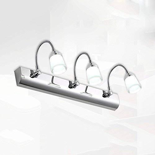 LED Spiegelfrontlicht 3 Kopf 9w Einfacher Edelstahl Badezimmer WC Licht Teleskopspiegel Schrank Lichter + (Farbe: Weißes Licht) -
