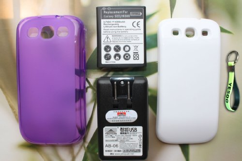 Samsung Galaxy S3 4300mAh Extended Battery + Cover - White + Extended TPU Case - Purple + External Battery Charger w/ USB Output (Compatible with Samsung Galaxy S III GT-i9300, AT&T Samsung Galaxy S3 Samsung i747, Verizon Samsung Galaxy S3 Samsung i535, T-mobile Samsung Galaxy S3 Samsung T999, U.S. Cellular Samsung Galaxy S3 R530, and Sprint Samsung Galaxy S3 L710) + Exclusive Black And Green Color Key Chain Kit  available at amazon for Rs.4749