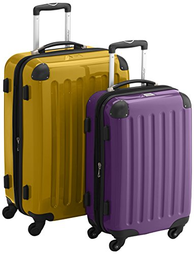 HAUPTSTADTKOFFER - Alex - 2er Koffer-Set Hartschale glänzend, TSA, 65 cm + 55 cm, 74 Liter + 42 Liter, Orange-Aubergine Gelb-Aubergine