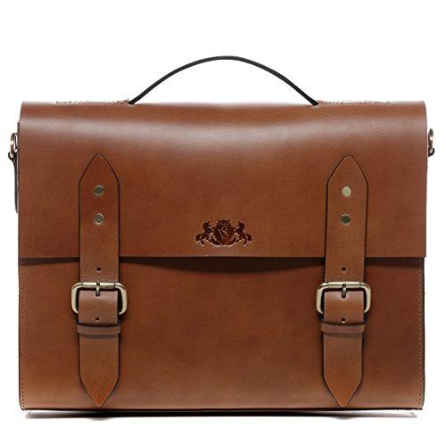 SID & VAIN® Aktentasche BOSTON - Unisex Laptoptasche groß Ledertasche fit für 15.4
