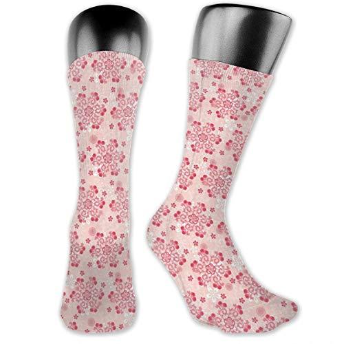 Papalikz Compression Medium Calf Socks,Abstract Ornamental Design With Curls Swirls Flowers Vintage -