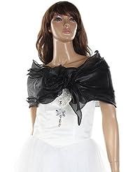 Gleader Chal Estola Bolero Organza Vestido Boda Fiesta Encaje Negro para Mujer