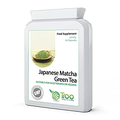 Japanese Matcha Green Tea 500mg 60 Capsules - UK Manufactured GMP Certification for Guaranteed Quality from Troo Health Care