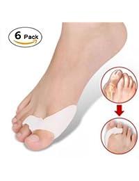 GOOTRADES 6 Par/ Pcak Corrector en Gel de Silicona para Pulgar de Pie Juanetes Protector Pies Esparcidor Toe Dedos Separador Color Blanco