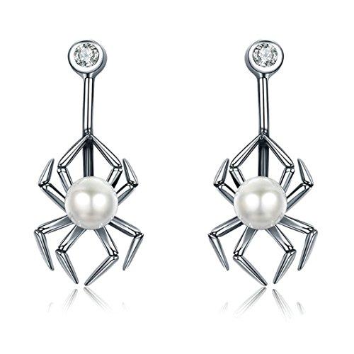 Halloween Ohrringe 925Sterling Silber Spider Ohrstecker für (Mit Kostüm Perlenohrring Mädchen)