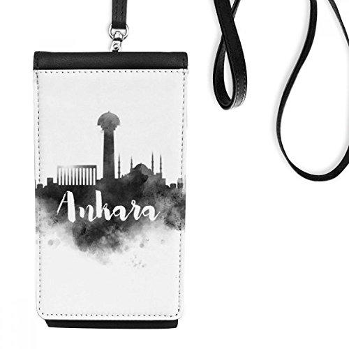 Ankara Türkei (DIYthinker Ankara Türkei Ink Stadt Kunstleder Smartphone hängende Handtasche Schwarze Phone Wallet Geschenk)