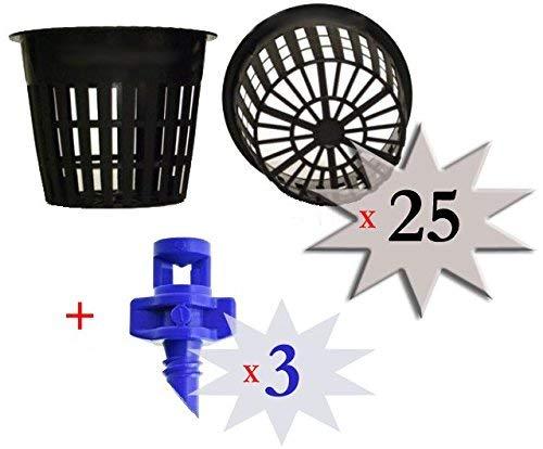 Cz Garden Supply Lot de 25-7,6 cm rond de couleur Heavy Duty Net Tasses Pots Large à lèvres Design - orchidées • Aquaponie • • Aquaculture hydroponie fendue en filet par CZ Jardin d'alimentation