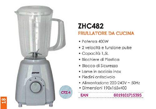 Zephir ZHC482 Frullatore da tavolo 1.5L 400W Grigio frullatore