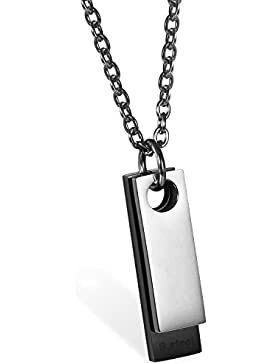 JewelryWe Schmuck Edelstahl Klassische 2 Poliert Dog Tag Anhänger mit 55cm Kette, Halskette für Herren, Silber...
