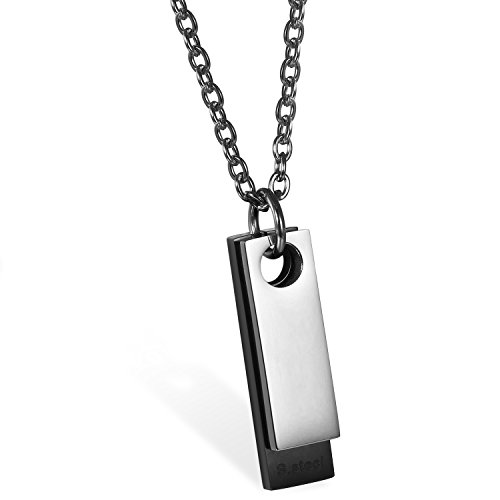 JewelryWe Schmuck Herren Halskette, Edelstahl Klassische 2 Poliert Dog Tag Anhänger mit 55cm Kette, Schwarz