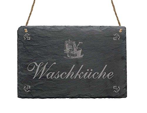 Schieferplatte Schild « WASCHKÜCHE » mit MOTIV Haushalt Dekoschild Frauen Geschenk