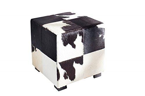 DuNord Design Hocker Sitzhocker Fellhocker COW schwarz weiß 45cm Echtfell...