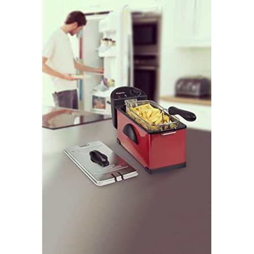 41Z819oZHtL. SS500  - Elgento Stainless Steel Fryer with Variable Temperature Control, Power and Cooking Indicator Light, Cool Touch Handle, 2000 W, 3 Litre, Black