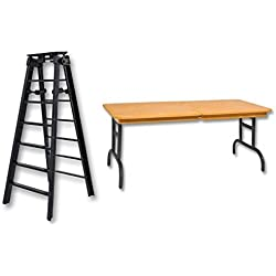 6 Black Folding Ladder & Brown Breakaway Table - Wrestling Figure Accessories (For WWE/TNA Action Figures) by The Wrestling Stall