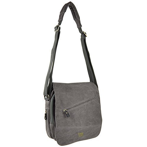 da-uomo-donna-in-tela-e-pelle-borsa-a-tracolla-da-troop-london-viaggio-flap-handy-nero