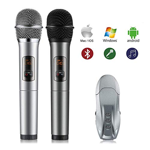 Microfono Karaoke Wireless,OCDAY Microfono Bluetooth Palmare con Ricevitore Portatile,10/25 Canali, per Ktv/Meeting/Party/Matrimonio,per Apple Iphone Smartphone Android Ipad o PC(2 MIC+1 Ricevitore)