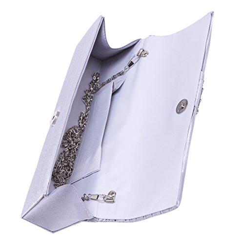 Sbarrato Damara foreverde piega Satin Elegant-shirtzshop stanotte per catene borsa a tracolla, Nero (nero), Large Nero (nero)