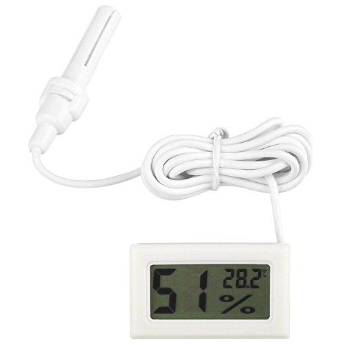 diymore LCD Digital Mini Embedded Thermometer Hygrometer Temperatur Luftfeuchtigkeit Meter Sonde für Reptil Inkubator Aquarium Geflügel (Weiß mit Kabel) -