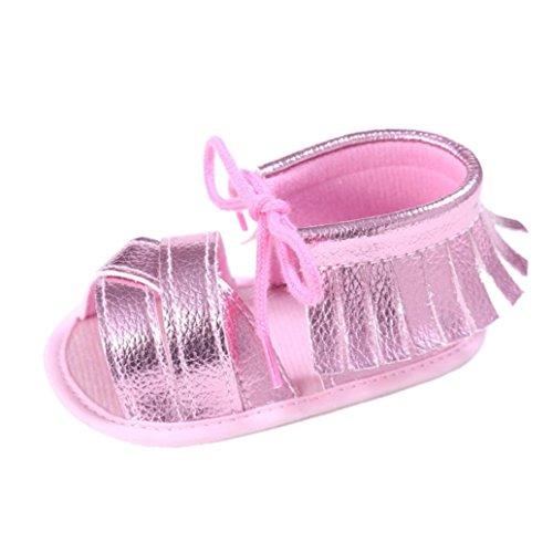 OverDose Unisex-Baby weiche warme Sohle Leder / Baumwolle Schuhe Infant Jungen-Mädchen-Kleinkind Schuhe 0-6 Monate 6-12 Monate 12-18 Monate H-PU Leder-Rosa