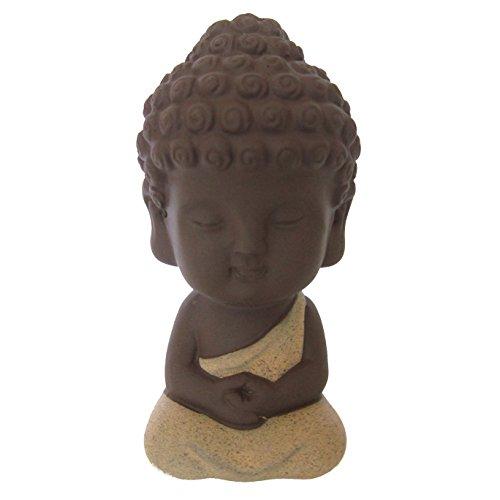 LU2000colecciones Mini Estatua de Buda para la meditación de escritorio Decor Beautiful Cute monje niño rojo porcelana hecho–figura decorativa (aprox.) 4Inch–Luz Rojo