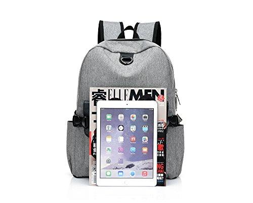 Imagen de y double  tipo casual /  vintage de lona y cuero / bolso casual para viajes / bolsa de escuela / portátil bolsa  adecuada para 15' cuaderno gris 1  alternativa
