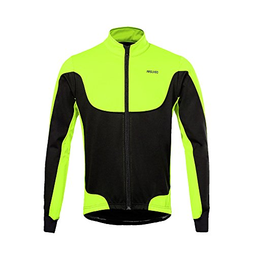 Lixada Giacca da Ciclismo Invernale da Uomo Cappotto Termico Antivento da Ciclismo Maniche Lunghe Pile Anti Vento 4 Tasche e Elementi Riflettenti e