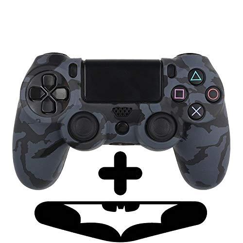PlayStation 4 Controller Silikonhülle + Bonus LED Sticker | Sony PS4 Schutz Hülle Pad Case | Für eine coole Optik, besseren Schutz & mehr Spaß beim spielen |Für PS Pro & PS Slim Pad geeignet |Schwarz -
