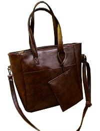 Phabdeals Women Casual Handbags PU Leather Designer Classy Office Shoulder Bag Dark Brown