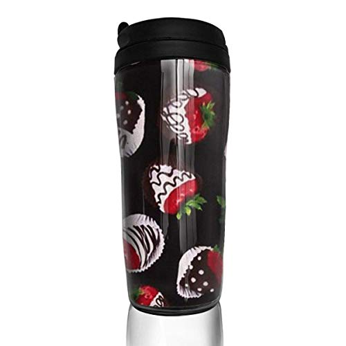 Travel Coffee Mug Strawberry Chocolate 12 Oz Spill Proof Flip Lid Water Bottle Environmental Protection Material ABS