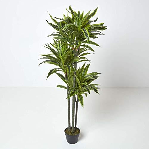 Homescapes künstlicher Dracaena Reflexa/Drachenbaum, dekorative Kunstpflanze im Topf, hochwertige Dekopflanze, naturgetreue Indoor-Pflanze, Drachenpalme, 150 cm