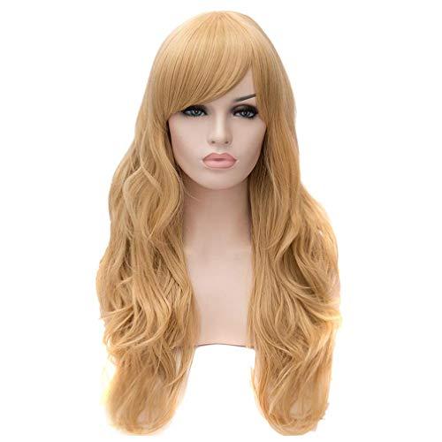 Baisheng LOLITA Blond Golden Western Style Frauen lange natürliche lockige wellige Schichten Mode Perücken (70cm-Dunkel Golden)