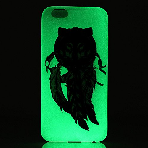 ISAKEN Custodia iPhone 6 Plus - Cover iPhone 6S Plus - Fashion Agganciabile Luminosa Cover Case con LED Lampeggiante per Apple iPhone 6(5.5) Ultra Slim Sottile TPU Cover Rigida Gel Silicone Protettiv dreamcatcher wolf piuma nero