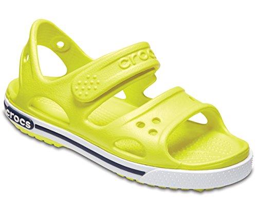 Crocs sandalo giallo fluo realizzato in gomma, con chiusura a strappo, unisex bambino, bambina, ragazzo, ragazza-34-35