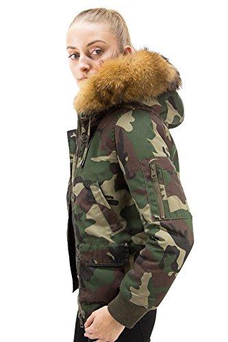 SALE Damen Parka Winterjacke Fliegerblouson mit Fur Kapuze Echtfell Jacke Bomberjacke Camouflage