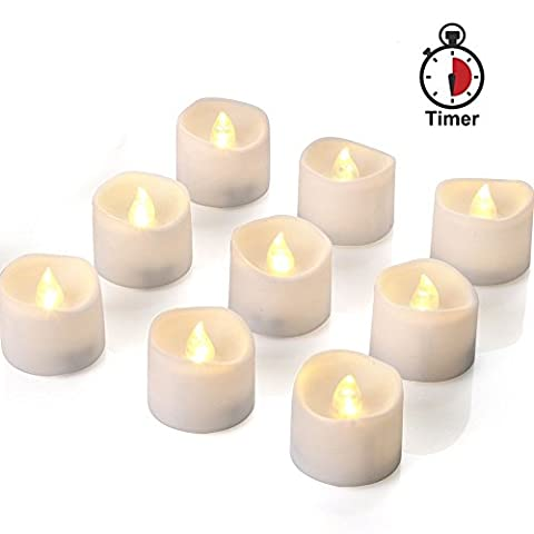 Homemory Lot de 12 Bougies led, 6h on/18H minuterie , Timer, Sans flamme, Fausses Bougies