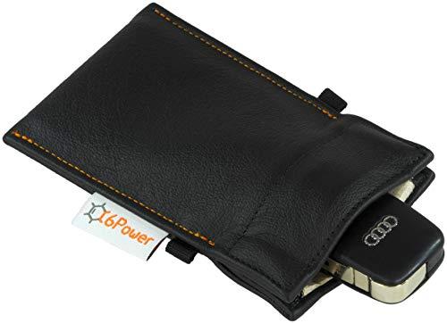 C6Power Keyless Go Echtleder-Diebstahlschutztasche mit Gutachten und Einhandbedienung Funkschlüssel Etui Signal Abschirmung RFID NFC WLAN GSM LTE Bluetooth Blocker (L, Echtleder schwarz) Go Power Extender