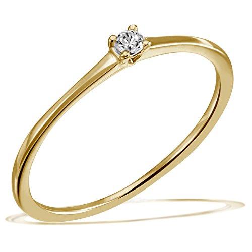 Goldmaid Damen-Ring Solitär Jana Solitär Ring Jana 0.05 ct. 585 Gelbgold Diamant (0.05 ct) weiß Brillantschliff   Gr. 56 (17.8) Verlobungsring  Diamantring