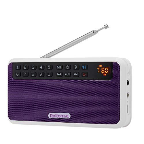 PIAOLING Radio Portable Machine de karaoké numérique à Petite Enceinte Bluetooth avec Carte Radio Facile à Utiliser (Color : Purple)