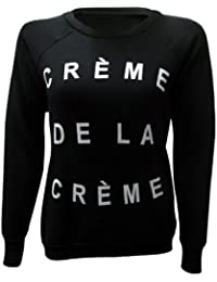 XpoZed Moda Womens Creme De La Creme Print Sweatshirt Jumper