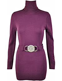 Purple Hanger - Neues Damen Langer Rollkragen Stretch Pullover Strick Kleid Mit Gürtel