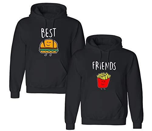 Best Friends Pullover für Zwei Mädchen Sister Freunde Hoodie Set für 2 Damen Kapuzenpullover Sweatshirt Pulli Freundin BFF Geschenke Schwarz Grau (Schwarz1-Hoodie, XXL + M)
