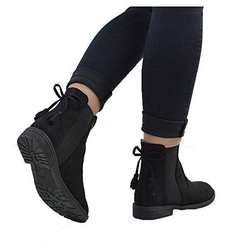 ESSEX GLAM Damen Wildlederimitat Stiefeletten Chelsea Kurzschaft Elastisch Profil Sohle Schuhe BLACK FAUX SUEDE