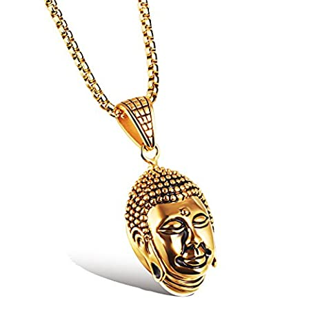 [M.JVisun] Men Jewelry Buddha Head Pendant 2 Colors Stainless Steel Necklace Box Link Chain, Length 21.6